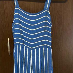 NWOT F21- Blue & White Jumpsuit,SIZE:S